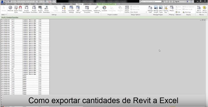 como exportar cantidades de Revit a Excel